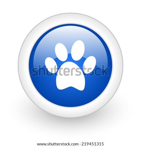 foot blue glossy icon on white background  - stock photo
