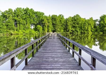 Foot bridge leading across an Alabama swamp - stock photo