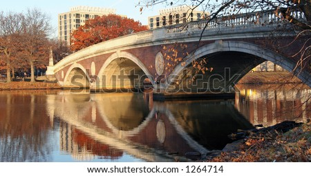 Foot Bridge over Charles River, Harvard Massachusetts - stock photo
