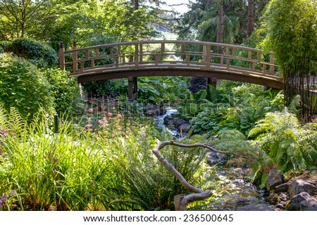 foot bridge through  Japanese garden near Victoria, BC, Canada - stock photo