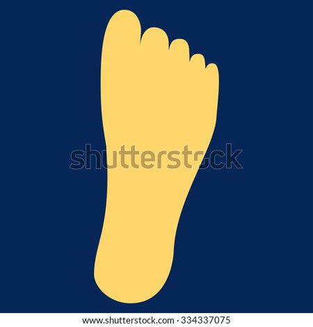 Foot glyph icon. Style is flat symbol, yellow color, rounded angles, blue background.