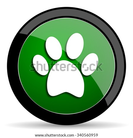 foot green web glossy circle icon on white background  - stock photo