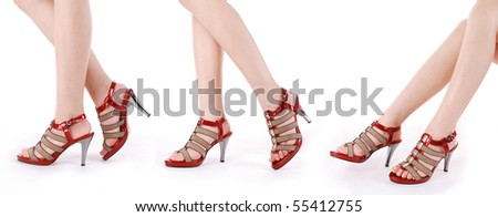 foot & high-heeled shoes - stock photo