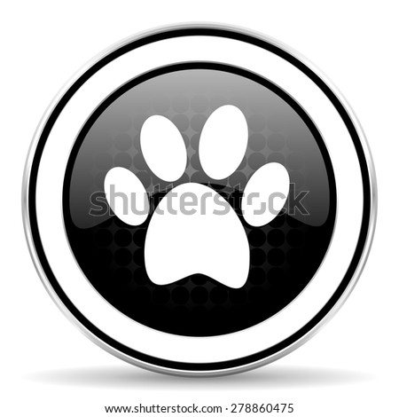 foot icon, black chrome button  - stock photo
