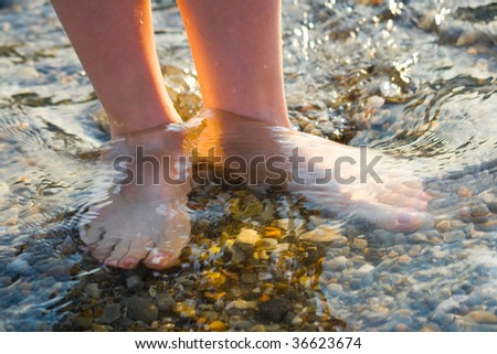 Foot in sea water