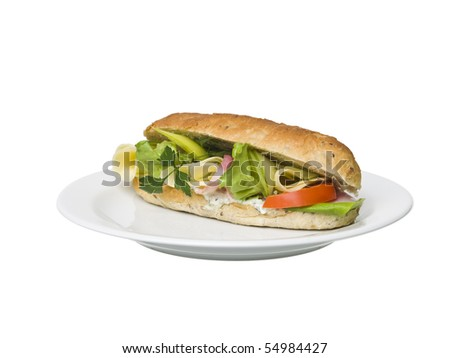 Foot long sandwich on a plate isolated on white background - stock photo