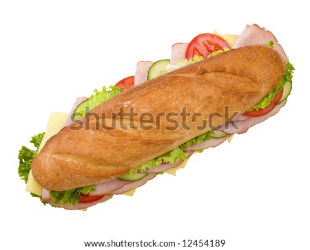 Foot-long submarine with ham, swiss cheese, lettuce, tomatoes and cucumbers, viewed from the top, on white background - stock photo