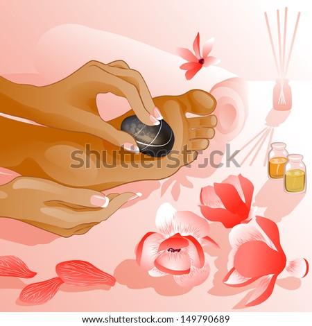 Foot massage. Raster version of vector illustration  - stock photo