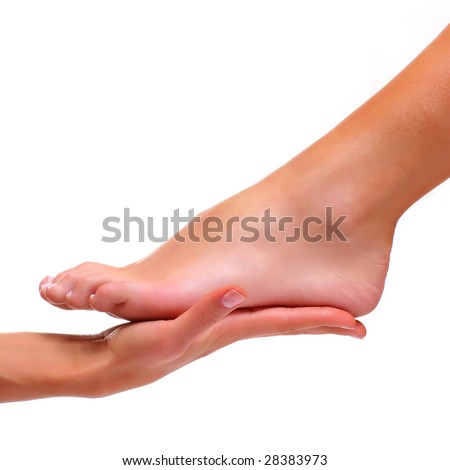 Foot of a female foot lays on a palm, isolated on a white background, please see some of my other parts of a body images: