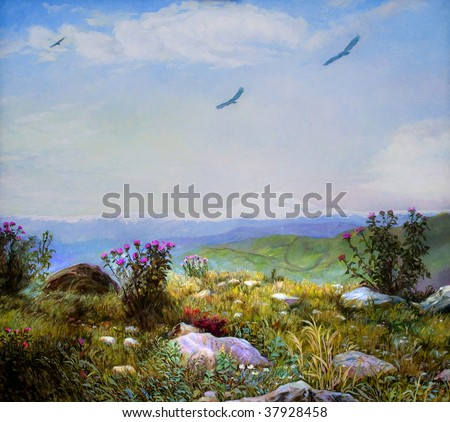 Foot of the mountain. Oil  on canvas landscape. - stock photo