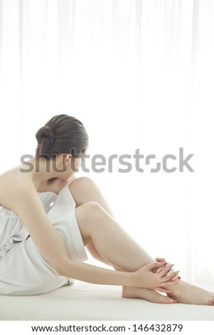 Foot of the woman - stock photo