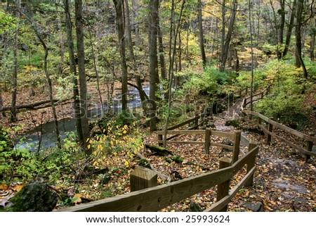 Foot Path Along Clifton Gorge On A Rainy Autumn Day, Southwestern Ohio - stock photo