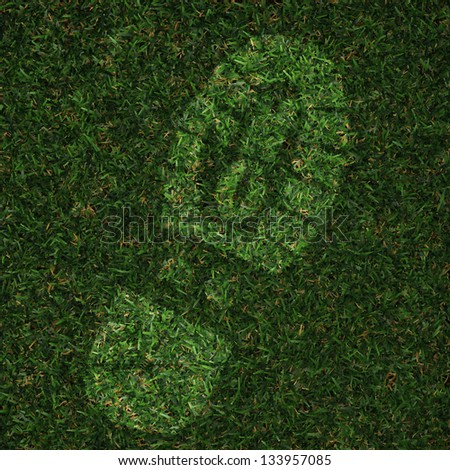 foot print made in grass - stock photo