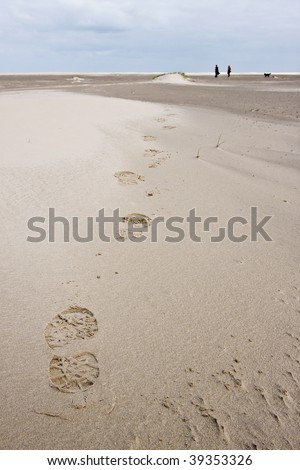 Foot print of woman walking in the sand dunes near the sea