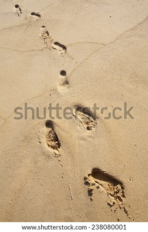 Foot prints on a sandy beach. - stock photo