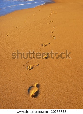 Foot Prints on Tropical Beach at Sunset - stock photo