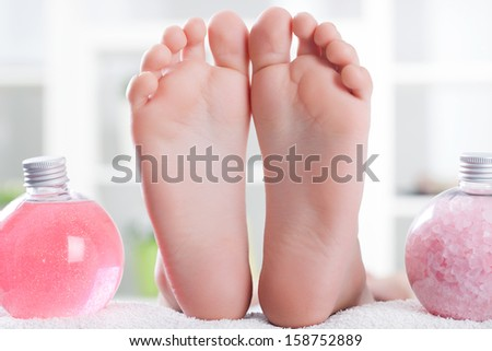 foot ready for spa treatment - stock photo