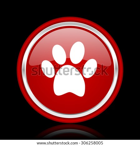 foot red glossy web icon chrome design on black background with reflection  - stock photo
