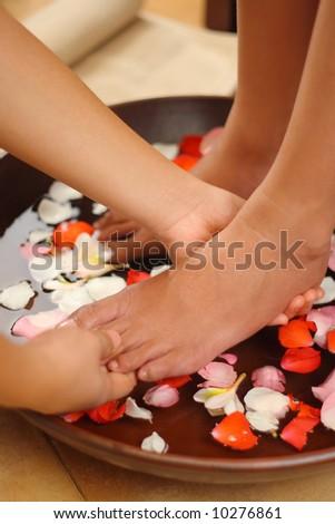 Foot spa & aromatherapy bowl - stock photo