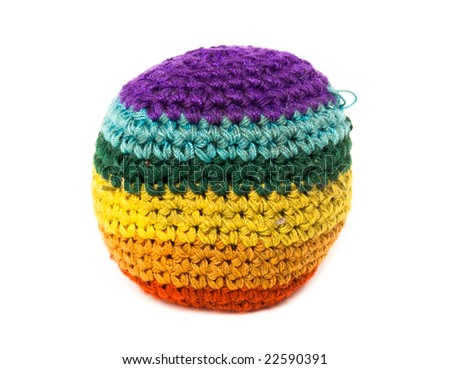 footbag color on white background - stock photo