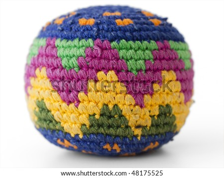 footbag play made of textile material - stock photo