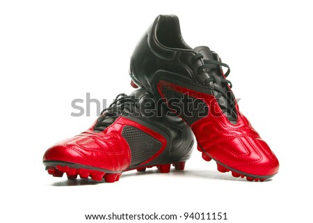 Footbal boots. Soccer boots. Isolated on white. - stock photo