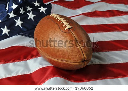 Football against a USA flag on a vertical format