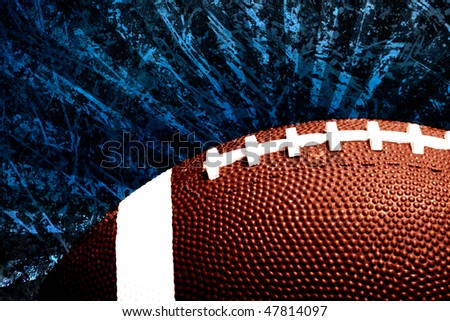 football against scratched grungy blue sun burst illustraion background