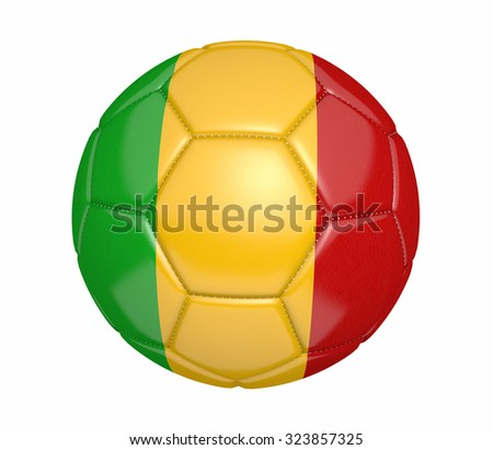 Football, also known as a soccer ball, with the national flag colors of Mali - stock photo