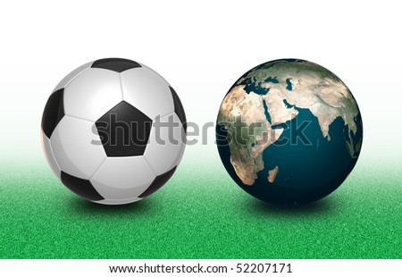 Football and Earth - stock photo