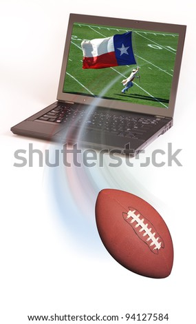 Football and laptop Computer. - stock photo