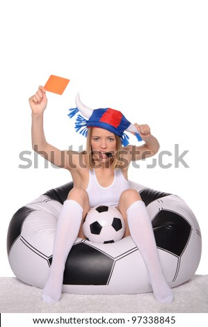 Football and soccer supporter showing red card on white background - stock photo