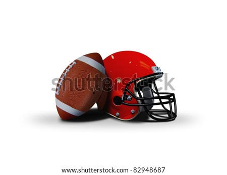 Football ball and helmet over white - stock photo