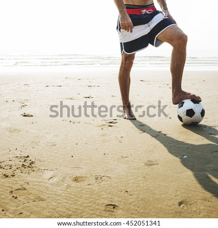Football Ball Exercise Lifestyle Sport Summer Concept - stock photo