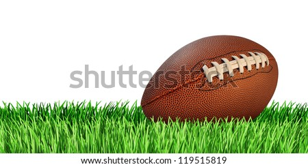 Football ball on a grass field isolated on a white background as a professional or college game sport for traditional American and Canadian play. - stock photo