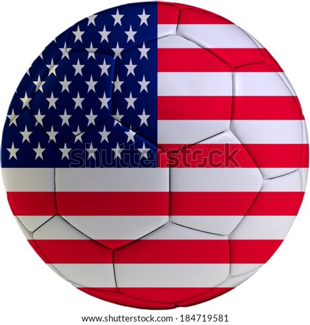 Football ball with American flag isolated on white background  - stock photo