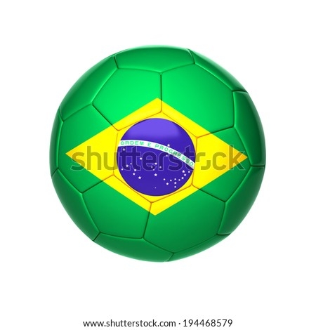 football ball with brazil flag isolated on white