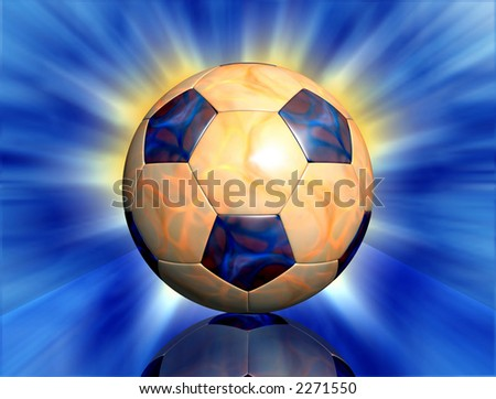 Football ball with fire texture,abstract background and glass table reflection - stock photo