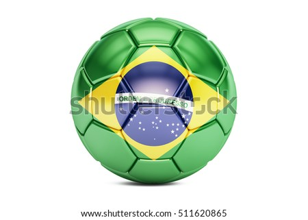 football ball with flag of Brazil, 3D rendering