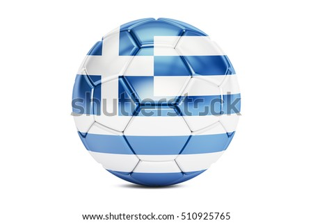 football ball with flag of Greece, 3D rendering