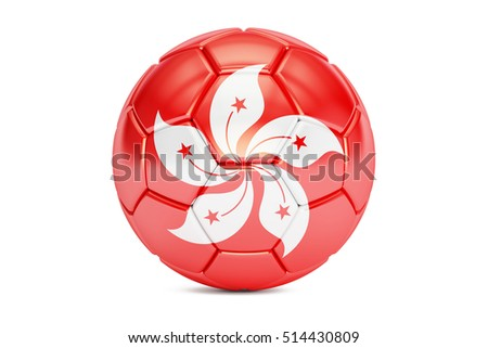 football ball with flag of Hong Kong, 3D rendering