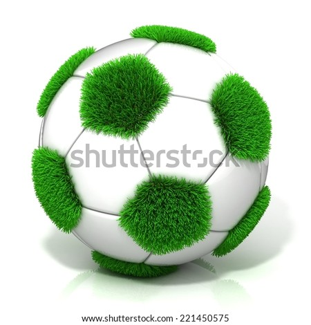 Football ball with grassy field instead black, isolated on white - stock photo