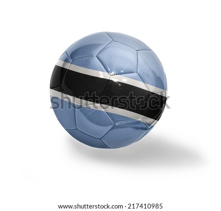 Football ball with the national flag of Botswana on a white background
