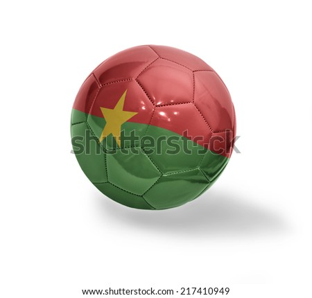 Football ball with the national flag of Burkina Faso on a white background - stock photo