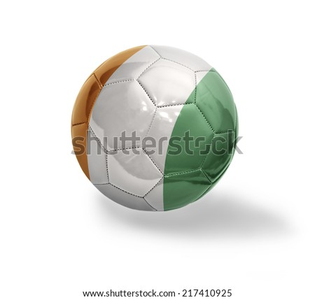 Football ball with the national flag of Cote dIvoire on a white background - stock photo