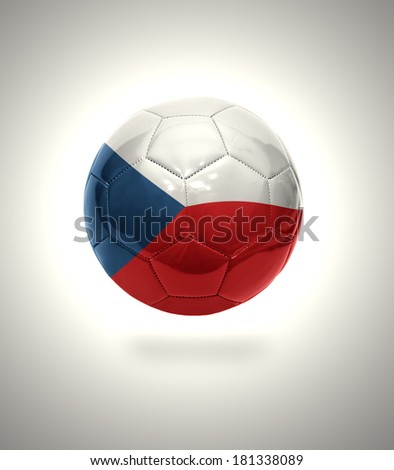 Football ball with the national flag of Czech Republic on a gray background
