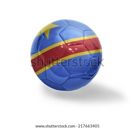 Football ball with the national flag of Democratic Republic of Congo on a white background - stock photo