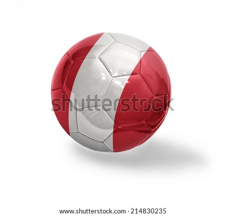 Football ball with the national flag of Peru on a white background