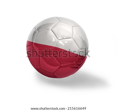 Football ball with the national flag of Poland on a white background