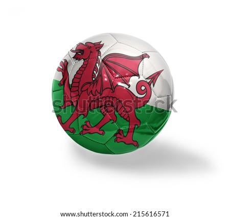 Football ball with the national flag of Wales on a white background